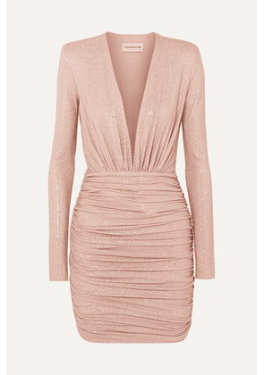 Alexandre Vauthier - Crystal-embellished Ruched Stretch-jersey Mini Dress - Blush