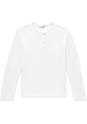 Club Monaco - Waffle-knit Cotton-jersey Henley T-shirt - White