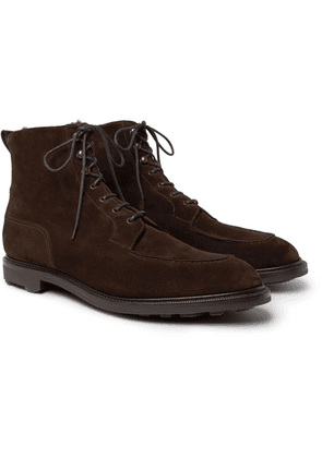 Edward Green - Cranleigh Shearling-lined Suede Boots - Brown