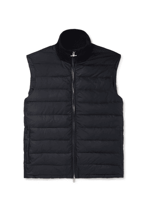 Dunhill - Leather-trimmed Quilted Shell Down Gilet - Navy