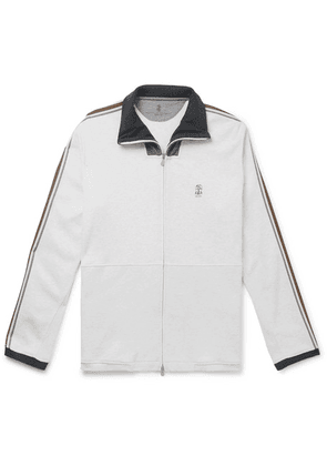 Brunello Cucinelli - Webbing And Shell-trimmed Mélange Cotton-blend Jersey Track Jacket - White