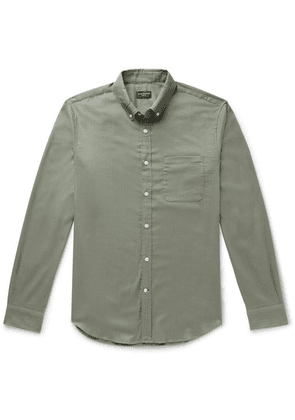 Club Monaco - Slim-fit Button-down Collar Herringbone Cotton-flannel Shirt - Army green