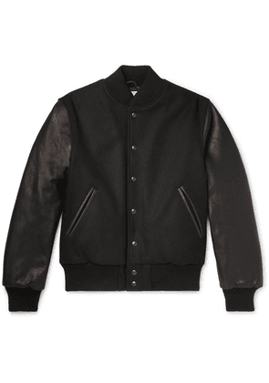 Golden Bear - The Albany Wool-blend And Leather Bomber Jacket - Black