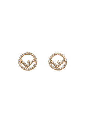 Fendi embellished logo earrings - Metallic