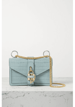 Chloé - Aby Chain Small Croc-effect Leather Shoulder Bag - Blue