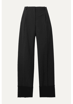 Theory - Frayed Satin-trimmed Wool Straight-leg Pants - Black