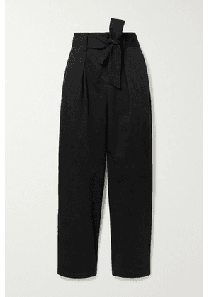 Alex Mill - Belted Pleated Cotton-blend Tapered Pants - Black