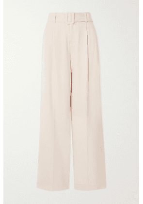 Vince - Belted Crepe Wide-leg Pants - Off-white