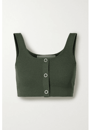Dion Lee - Pinnacle Cropped Ribbed-knit Top - Army green