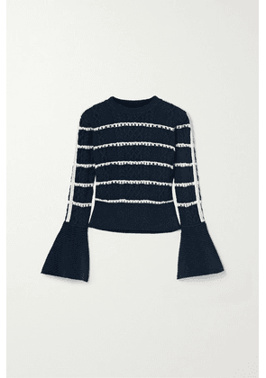Self-Portrait - Embellished Striped Cable-knit Cotton-blend Sweater - Midnight blue