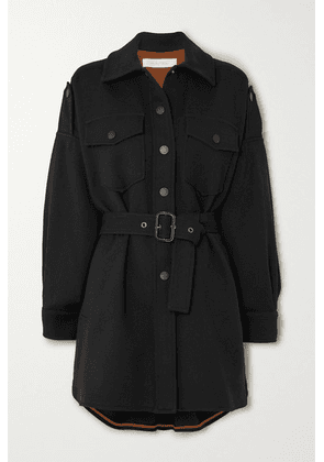 See By Chloé - Belted Cotton-blend Coat - Black