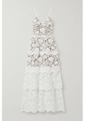 Self-Portrait - Crochet-trimmed Tiered Corded Lace Gown - Ivory