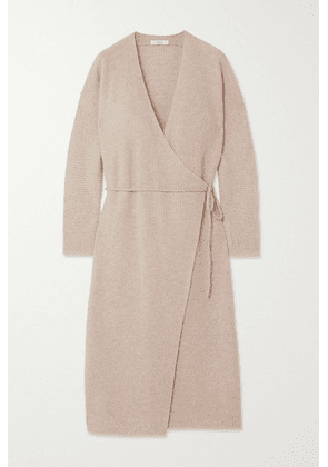 Vince - Ribbed Wool And Cashmere-blend Wrap Dress - Stone