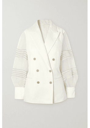 Brunello Cucinelli - Bead-embellished Silk Organza-trimmed Linen And Cotton-blend Blazer - Ivory