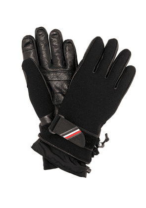 Leather-trimmed ski gloves