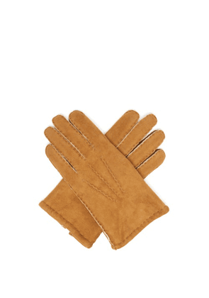 Dents - York Shearling-lined Suede Gloves - Mens - Yellow