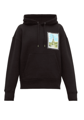 Ami - Postcard-patch Cotton-blend Hooded Sweatshirt - Mens - Black