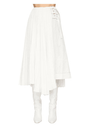 Pleated Linen Blend Midi Skirt W/buckles
