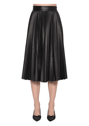 Pleated A-line Leather Midi Skirt