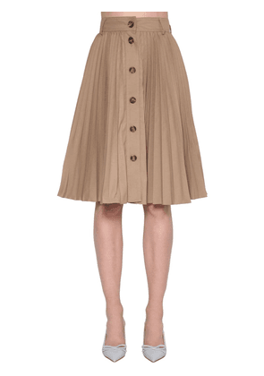 Pleated Canvas Midi Skirt