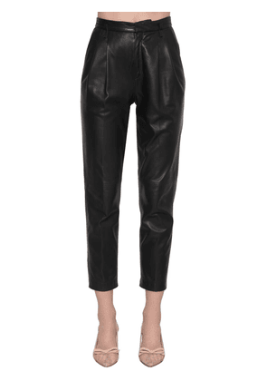 High Rise Leather Straight Pants