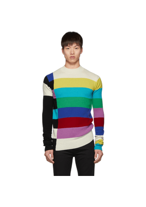 Christian Dada Multicolor Wool Bars Mock Neck Sweater
