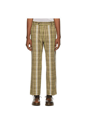 Kenzo Beige Cotton Check Trousers