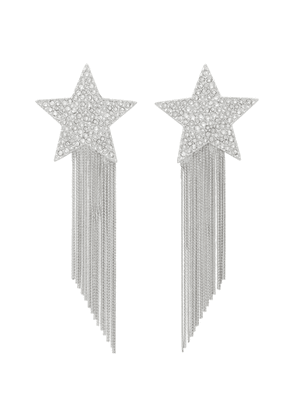 Saint Laurent Silver Star Fringed Earrings
