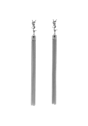Saint Laurent Silver Loulou Tassel Earrings