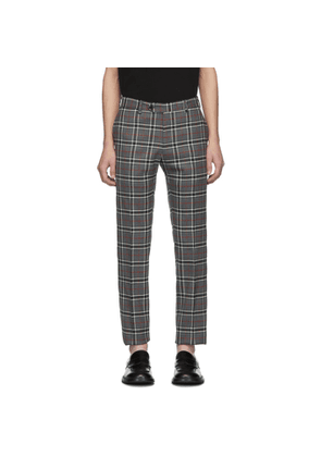 Eidos Grey Wool Windowpane Plaid Trousers