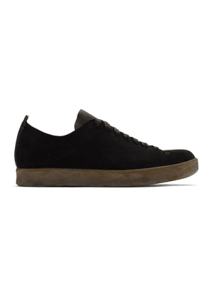 Feit Black Suede Hand-Sewn Latex Low Sneakers