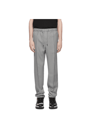 Fendi White and Black Micro Houndstooth Trousers