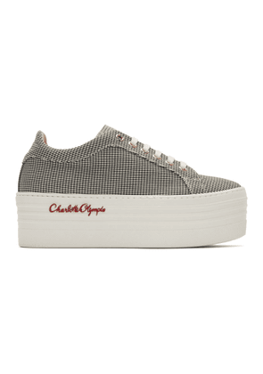 Charlotte Olympia Black and White Gingham Ace Platform Sneakers