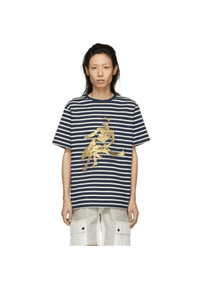 JW Anderson Navy Gilbert and George Edition Foil Dolphin T-Shirt