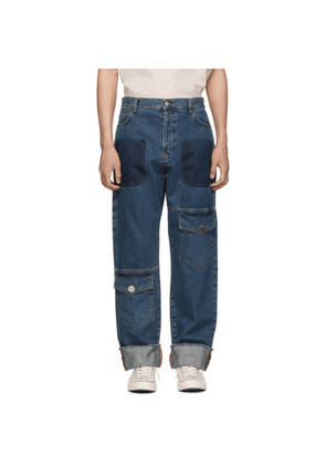 JW Anderson Blue Shaded Multi-Pocket Jeans