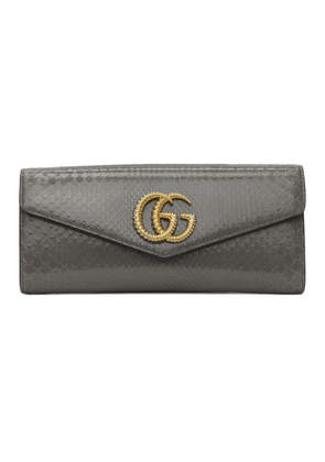 Gucci Grey Snakeskin GG Broadway Clutch