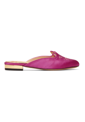 Charlotte Olympia Pink Satin Kitty Slippers