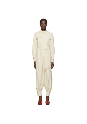Gucci Off-White Crepe Belted Jumpsuit