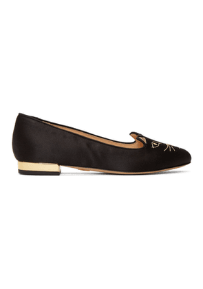 Charlotte Olympia SSENSE Exclusive Black Satin Kitty Loafers
