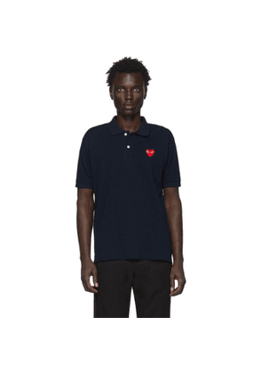 Comme des Garcons Play Navy Heart Patch Polo