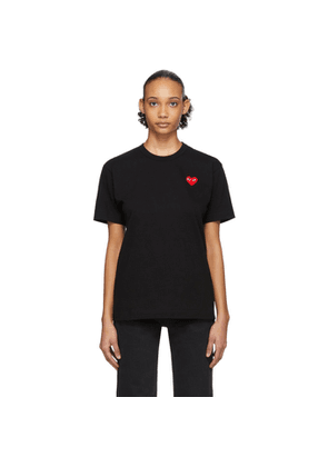Comme des Garcons Play Black and Red Mens Fit Heart Patch T-Shirt