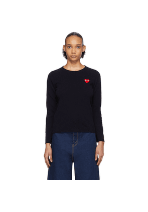 Comme des Garcons Play Navy Heart Patch Sweater