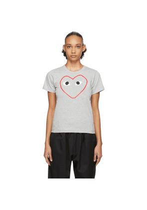 Comme des Garcons Play Grey Outline Heart T-Shirt