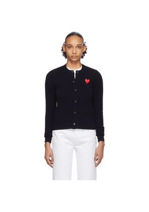 Comme des Garcons Play Navy and Red Heart Cardigan