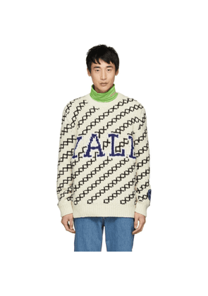 Calvin Klein 205W39NYC Off-White and Black Yale Crewneck Sweater