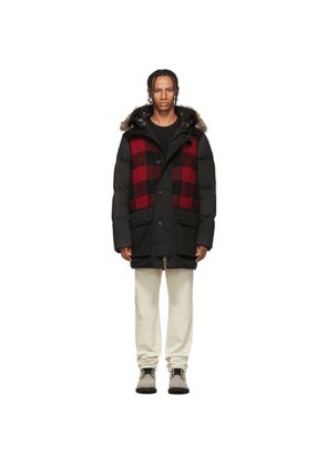 Woolrich Black and Red Down Buffalo Wool Jacket