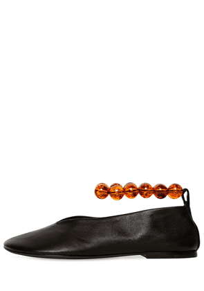 10mm Bead Ankle Leather Ballerina Flats