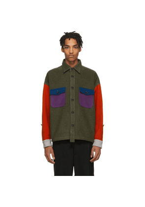 Woolrich Khaki and Multicolor North Hollywood Edition Wool Shirt