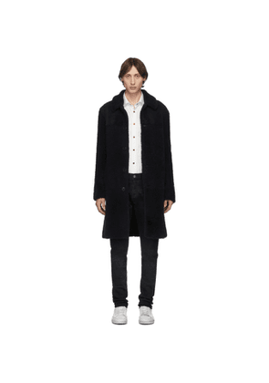 Eidos Navy Shearling Long Coat