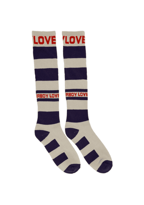 Charles Jeffrey Loverboy Navy and Off-White Loverboy Socks